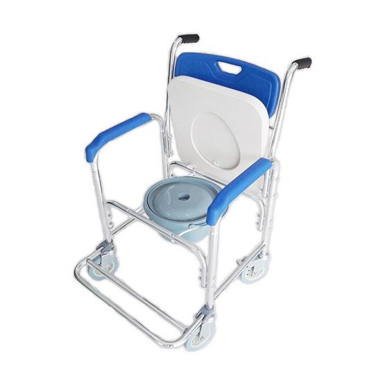 Abloom 2 IN 1 เก้าอี้นั่งถ่าย เก้าอี้อาบน้ำ มีล้อ โครงอลูมิเนียม