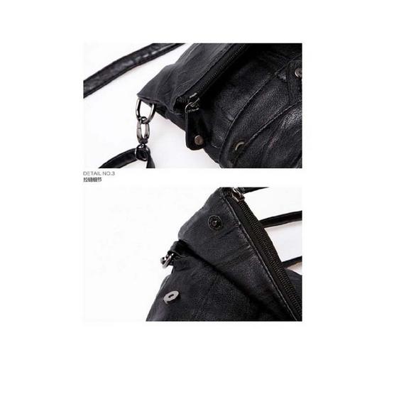 Osaka กระเป๋า 3  in 1  สะพายไหล่ผู้ชาย คาดอก คาดเอว หนัง PU รุ่น NE07 - สีดำ