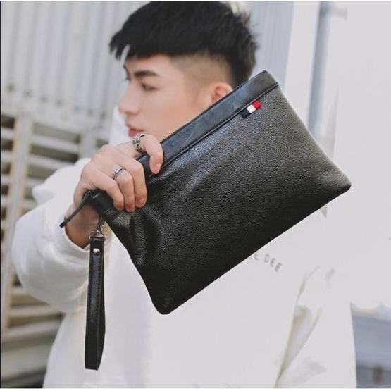 OSAKA กระเป๋าถือ ลายเรียบ ใบกะทัดรัด รุ่น หนัง PU NE09 – สีดำ