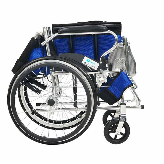 Fasicare TAVEL ทาเวล รุ่น FAL-122BL รถเข็นผู้ป่วยอะลูมิเนียมอัลลอย สีน้ำเงินดำ พับพนักพิงหลังได้ ล้อหลัง 20 นิ้ว