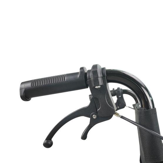 Fasicare TAVEL รถเข็นเหล็ก รุ่น FIC-801BB สีดำเงา เบาะไนลอนสีม่วงดำ มีเบรกมือ