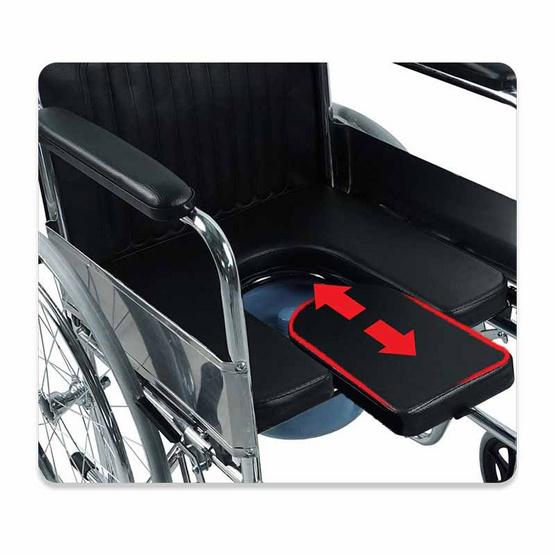 Fasicare TAVEL รุ่น FIC-311U รถเข็นผู้ป่วยเหล็กชุบโครเมียม เบาะพีวีซีสีดำ เบาะ 2 In 1 ใช้นั่งและถอดออกนั่งถ่ายได้