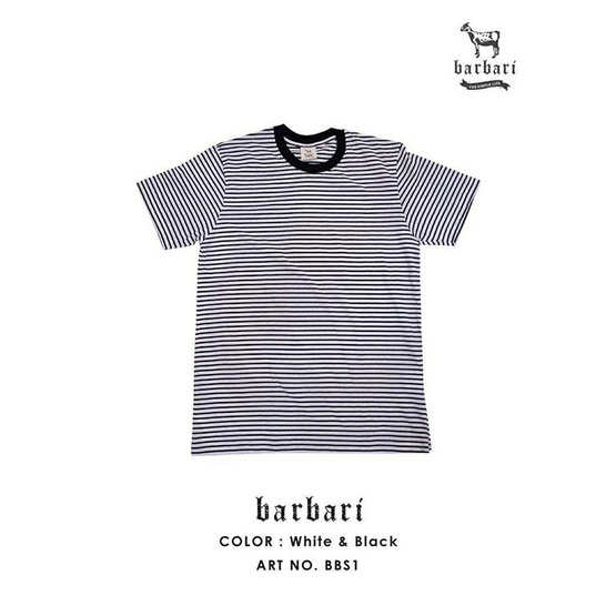 Barbari เสื้อยืดคอกลมลายริ้ว Premium Cotton 100% ดำขาว