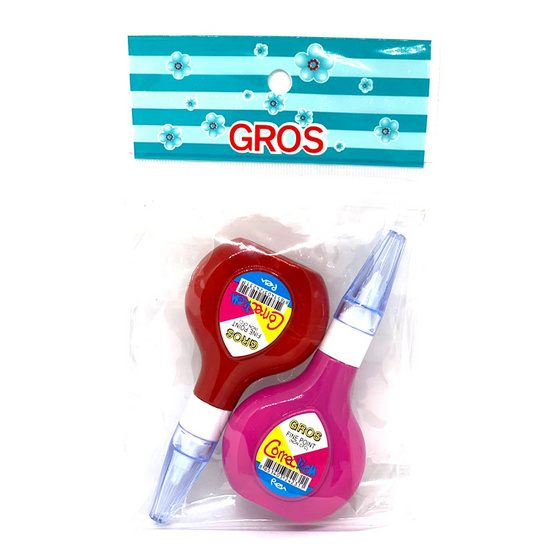 GROS 518 น้ำยาลบคำผิด 12ml. คละสี (แพ็คคู่)