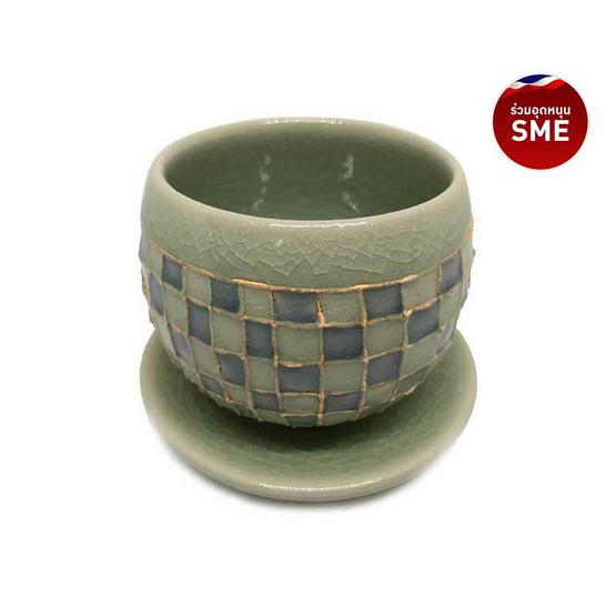 ChiangMai Celadon ชุดแก้วน้ำชาญี่ปุ่นศิลาดลโมเสคพร้อมจานรอง