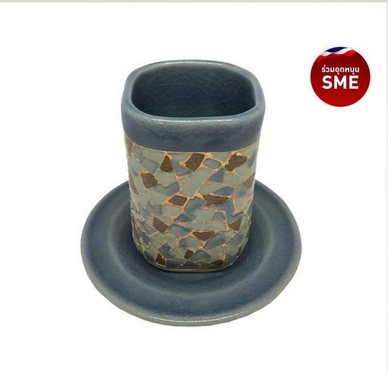 ChiangMai Celadon แก้วศิลาดลโมเสคทรงสี่เหลี่ยม พร้อมจานรองเรียบ
