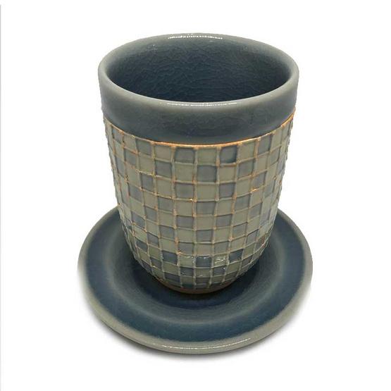 ChiangMai Celadon แก้วน้ำชาทรงสูงศิลาดล โมเสค พร้อมจานรอง