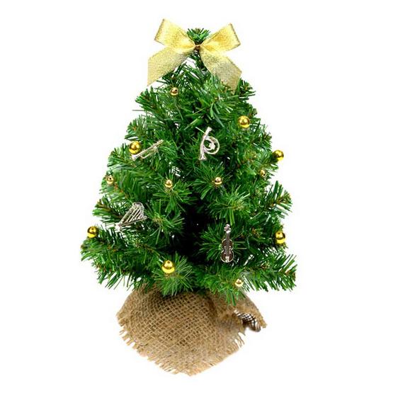 ต้นคริสต์มาส 1 ฟุต สีเขียว ตกแต่งเครื่องดนตรีจิ๋วสีทอง