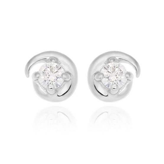 Jewelry Buffet ต่างหูสตัดทรงกลม พลอยขาว