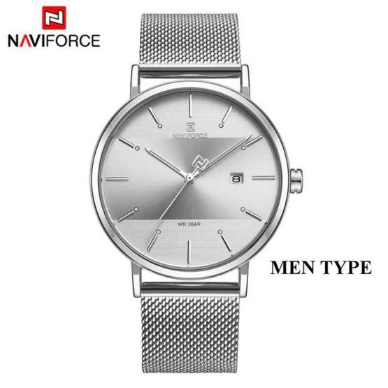 Naviforce นาฬิกา รุ่น  NF3008M เงิน