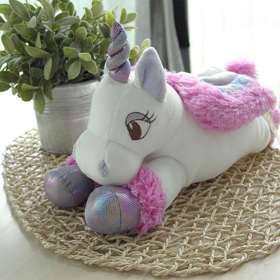 Unicorn ตุ๊กตาม้ายูนิคอร์นหมอบ สีม่วง 12 นิ้ว