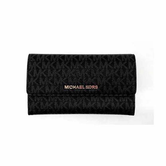 กระเป๋าสตางค์ MICHAEL KORS 35F8GTVF3B Jet Set Travel Black/acorn LG Trifold Wallet (Black) [MC35F8GTVF3BBLK]