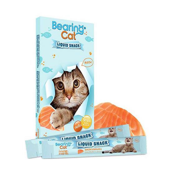 Bearing แคท ลิควิดสแนค ขนมแมวเลีย 15 กรัม รสปลาแซลมอน 8แถม3