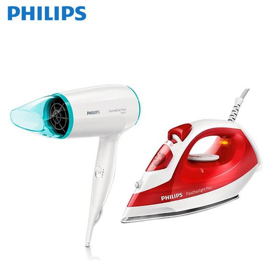 Philips ชุดของขวัญ Perfect Style เตารีดไอน้ำ รุ่น GC1423/40 และไดร์เป่าผม รุ่น BHD006/00