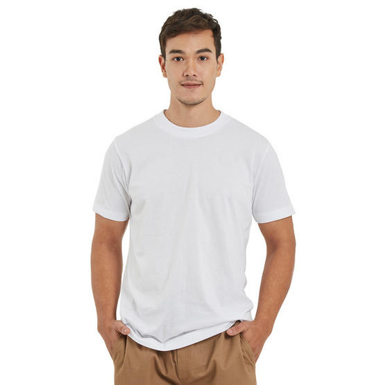 Double Goose ตราห่านคู่ เสื้อคอกลม ไร้ตะเข็บข้าง Relax Fit สีขาว รุ่น Modern แพ็ค 3 ตัว
