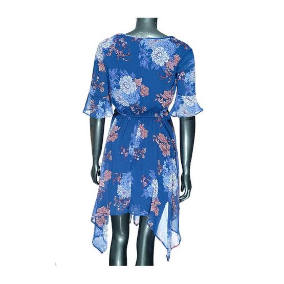 ชุดแซกสีน้ำเงินลายดอกไม้