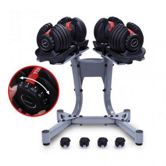 360 Fitness ชุดดัมเบลปรับน้ำหนักได้ ADJUSTABLE BUMBBELL SET น้ำหนัก 52.5 ปอนด์ (ฟรี DUMBBELL RACK: ขาตั้งดัมเบล)