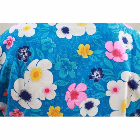 เสื้อลายดอกสีน้ำเงิน