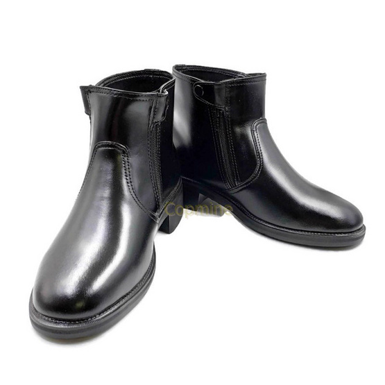 Copmine รองเท้าฮาฟ หนังวัวแท้ ซิปคู่