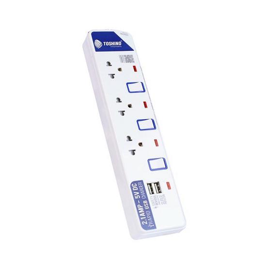 Toshino ปลั๊กไฟ 3 ช่อง 3 สวิตซ์ USB รุ่น ET-913USB-2 เมตร