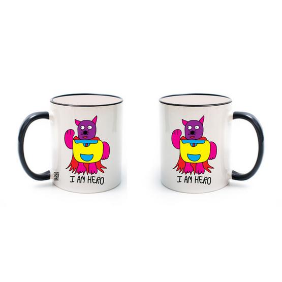 แก้วขาว 11oz ลายแมวฮีโร่