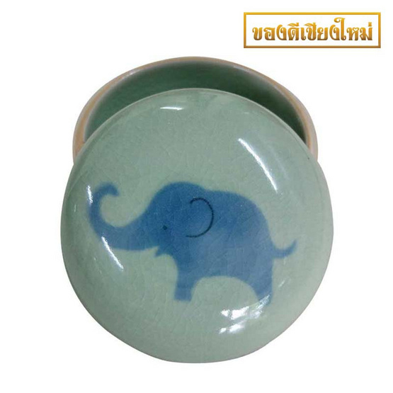 ตลับกลมใหญ่ศิลาดลสีเขียว ช้างเคลือบสีน้ำเงิน