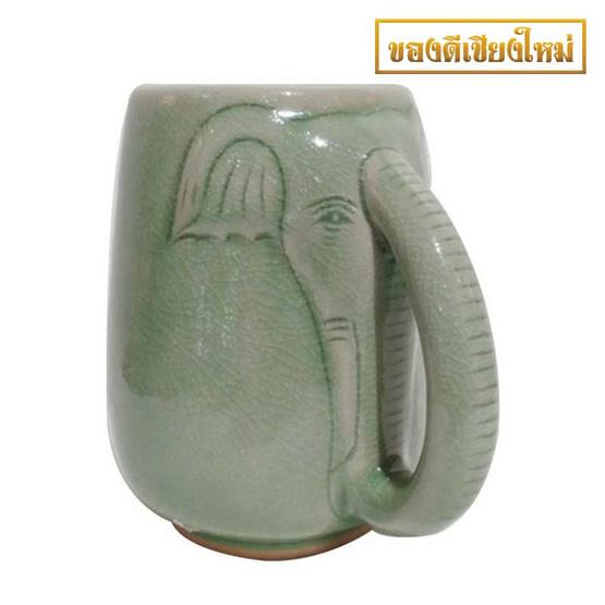 แก้วมัคช้าง เคลือบสีเขียว