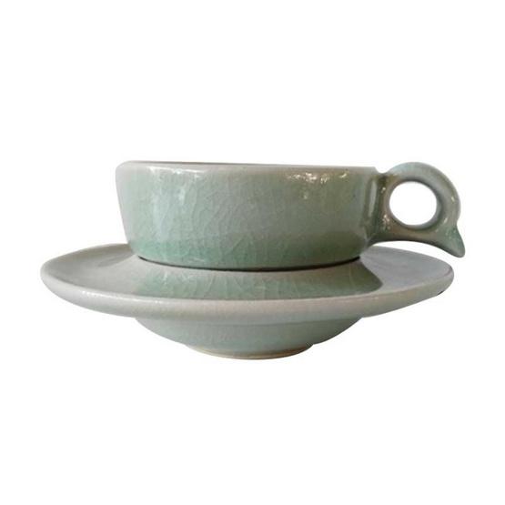 แก้วกาแฟเล็ก หูQ จานรองหลุม เรียบ เนื้อศิลาดล เคลื