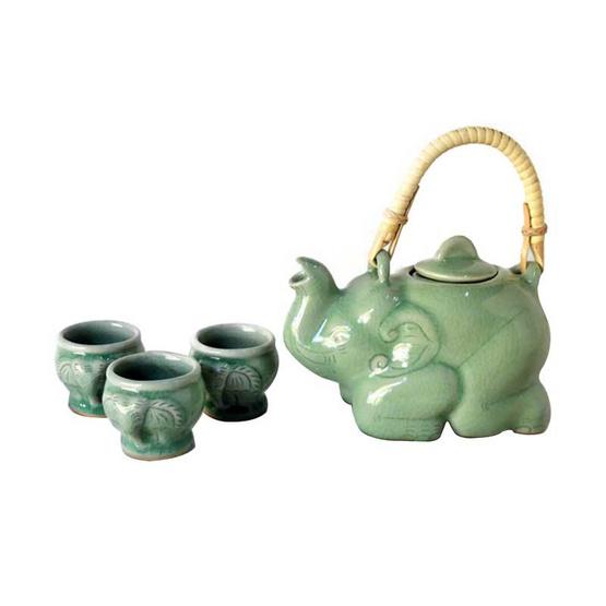 ชุดน้ำชาช้างหมอบ แก้วชาช้าง 3 ชิ้น