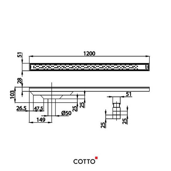 COTTO  รางน้ำทิ้งกันกลิ่นหน้าแคบพิเศษสำหรับท่อพีวีซีขนาด 2.5 นิ้ว (หน้าแปลน 5 ซม. X 120 ซม.)