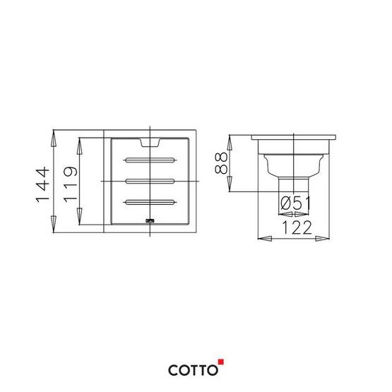 COTTO  รางน้ำทิ้งกันกลิ่นสำหรับท่อพีวีซีขนาด 2-3.5 นิ้ว (หน้าแปลน 5.7x5.7 นิ้ว)