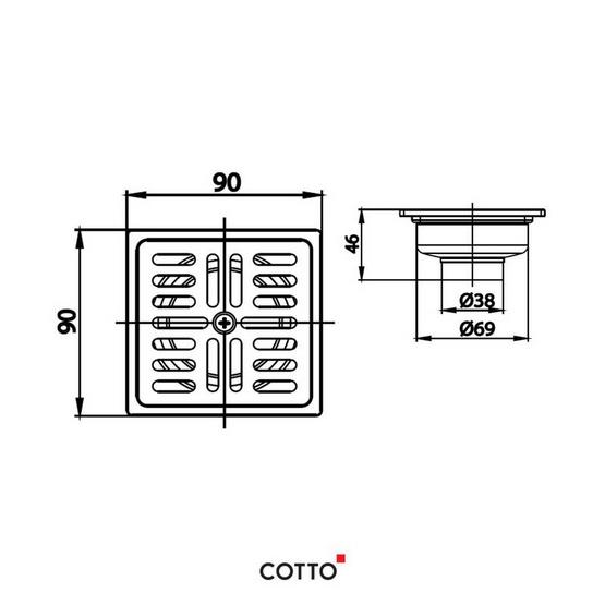 COTTO  ตะแกรงกันกลิ่นสเตนเลสเหลี่ยมติดตั้งกับท่อพีวีซีขนาด 1.5-2.5 นิ้ว (หน้าแปลน 3.5 นิ้ว)