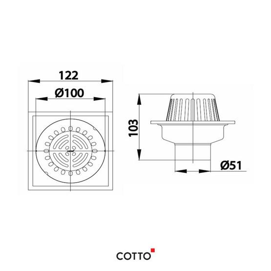 COTTO  ตะแกรงระเบียง สำหรับท่อ PVC