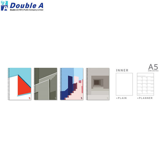 Double A สมุดสันห่วงMonthly Planner A5 ไม่มีเส้น คละลาย Structure (แพ็ค4เล่ม)