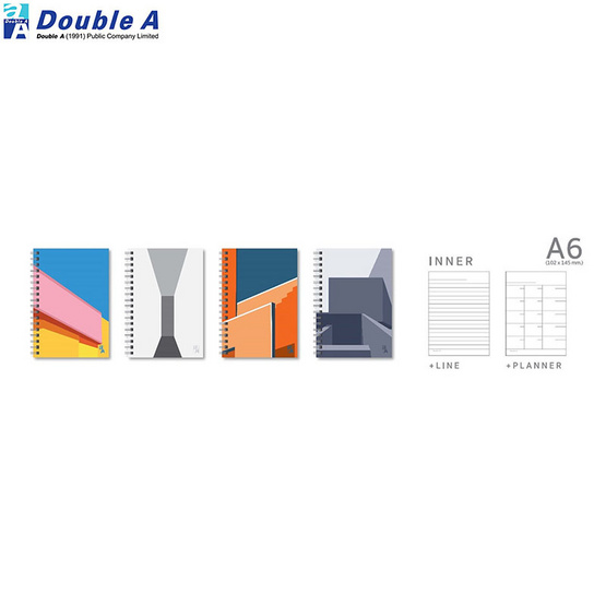 Double A สมุดสันห่วงMonthly Planner A6 มีเส้น คละลาย Structure (แพ็ค4เล่ม)