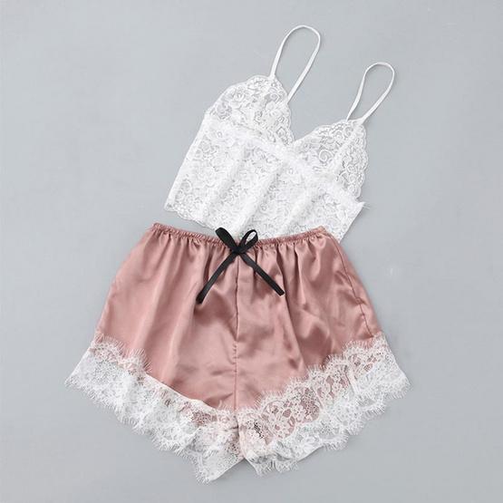 Wolfox ชุดนอนผ้าไหมซาติน รุ่น Lace Top สีชมพู