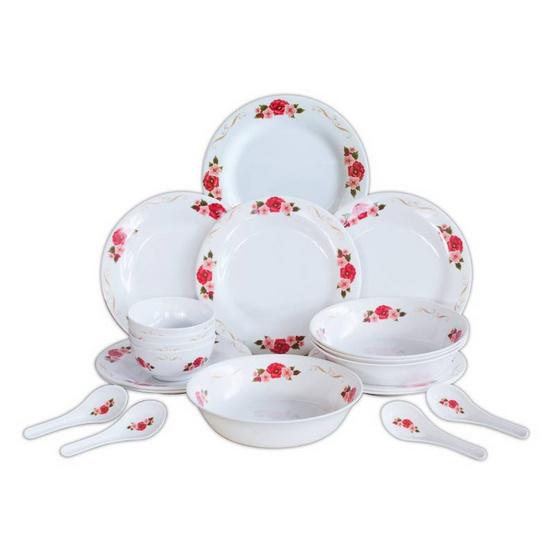ชุดจานชาม+ช้อน เมลามีน 20 ชิ้น (ลายสวีทฟลอร่า)