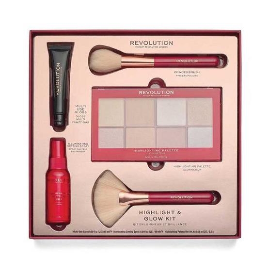 Makeup Revolution ไฮไลท์พาเลท Highlight & Glow Kit 20 กรัม + 15 มล. + 30 มล.