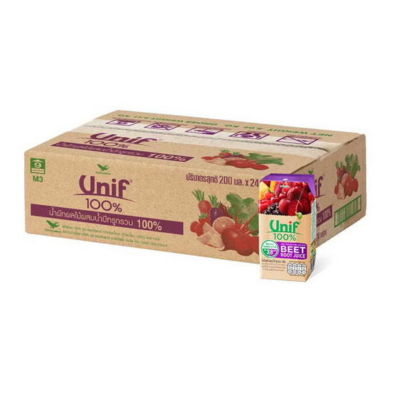 ยูนิฟผักผลไม้ผสมบีทรูท 100%  200 มิลลิลิตร (ยกลัง 24 กล่อง)