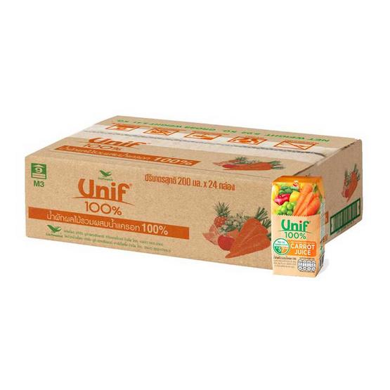 ยูนิฟ นํ้าแครอทผสมผักผลไม้รวม 100% ขนาด 200 มล. (ยกลัง 24 กล่อง)