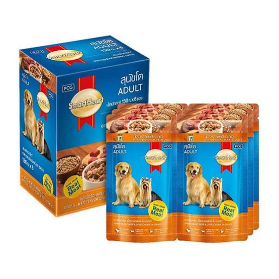 สมาร์ทฮาร์ท 7-Select อาหารสุนัขเปียกเนื้อ&ตับ (1แพ็ก6ชิ้น)