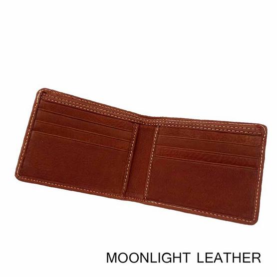 MOONLIGHT กระเป๋าสตางค์หนังแท้ 100% สีน้ำตาลอ่อน  ทำจากหนังวัว