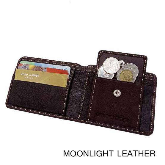 MOONLIGHT กระเป๋าสตางค์หนังแท้ 100% สีน้ำตาลเข้ม  ทำจากหนังวัว