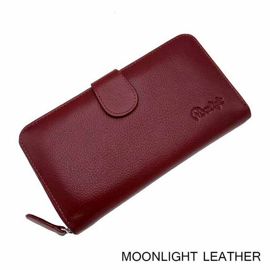 MOONLIGHT กระเป๋าสตางค์ผู้หญิง ใบยาว สีแดงเข้ม หนังวัวแท้ ทนทาน โดนน้ำได้ ไม่ลอกร่อน