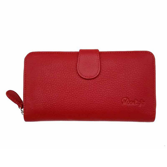 MOONLIGHT กระเป๋าสตางค์ผู้หญิง ใบยาว สีแดงสด หนังวัวแท้ ทนทาน โดนน้ำได้ ไม่ลอกร่อน