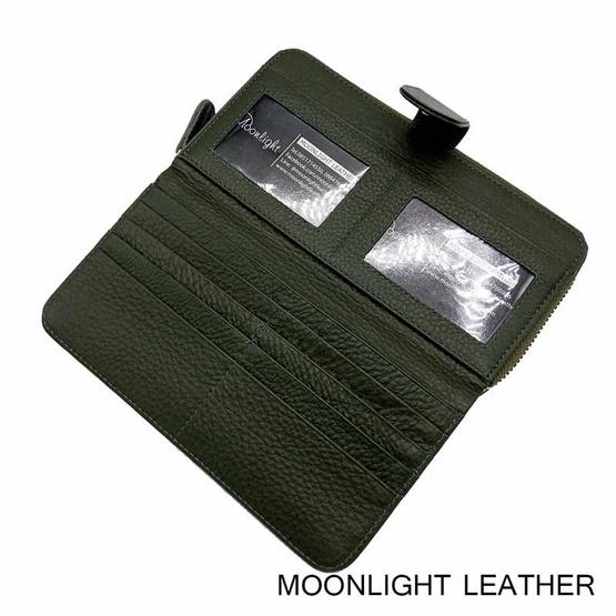MOONLIGHT กระเป๋าสตางค์ผู้หญิง ใบยาว สีเขียวเข้ม หนังวัวแท้ ทนทาน โดนน้ำได้ ไม่ลอกร่อน
