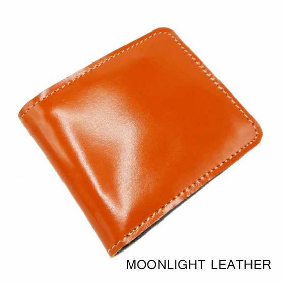 MOONLIGHT กระเป๋าสตางค์หนังแท้  รุ่น Hercules  หนังเงา สีส้ม