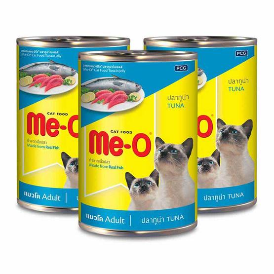 อาหารแมวเปียก มีโอรสทูน่ากระป๋อง 400ก. 1แพ็ก (3กระป๋อง)