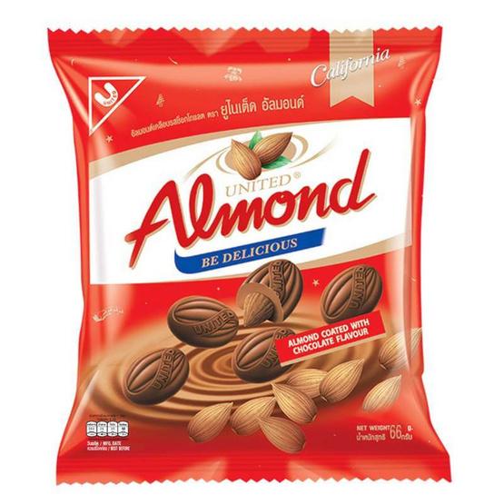ยูไนเต็ด ช็อกโกแลตอัลมอนด์ถุง 66 กรัม (แพ็ก 24)