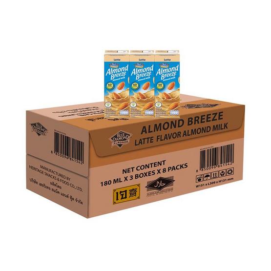 อัลมอนด์บรีซ นมอัลมอนด์ รสลาเต้ 180 มล. (ยกลัง 24 กล่อง)